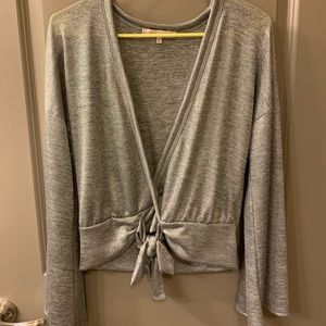 Silver shimmer bell sleeve top